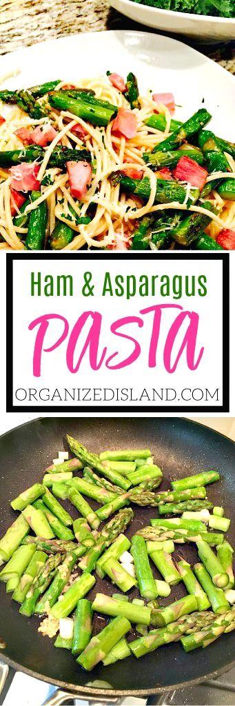 Simple Ham with Asparagus pasta recipe - A tasty and economical meal idea!  #ham #Asparagus #pasta #recipe #leftovers #dinneridea via @OCRaquel
