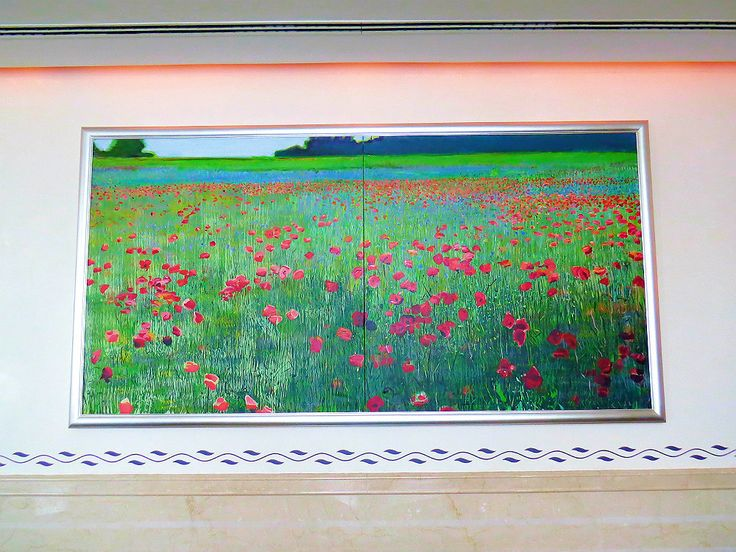 A piece of art by Gyula Konkoly: Poppies. The beautiful painting decorates the walls at the Páva Room at Four Seasons Hotel Gresham Palace Budapest.
