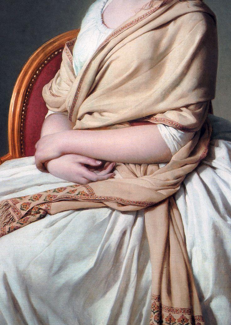 Jacques-Louis David: Detail of a portrait of Anne-Marie-Louise Thélusson, Comtesse de Sorcy, 1790.