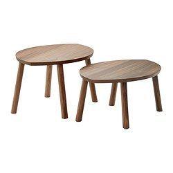 IKEA - STOCKHOLM, Tables gigognes, lot de 2, , Le plateau de table en placage de noyer et les pieds en noyer massif donnent une ambiance naturelle et chaleureuse à la pièce.Le motif naturel particulier du placage de noyer donne à chaque table son caractère unique.Le noyer est un matériau naturellement résistant. Sa surface est encore plus solide grâce à la couche de laque dont elle est recouverte.Tables décoratives en forme de feuille ; les utiliser indépendamment ou les rapprocher pour…