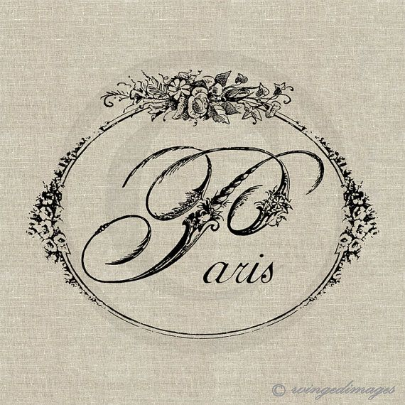 INSTANT DOWNLOAD Paris Word Floral Script Digital Image No.160 Iron-On Transfer to Fabric (burlap, linen) Paper Prints (cards, tags) via Etsy