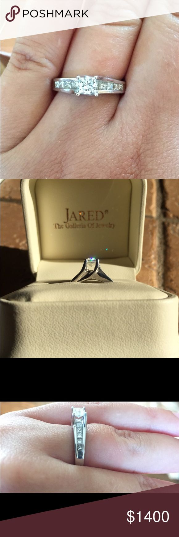 Diamond engagement ring GREAT CONDITION, only worn for a few weeks! Purchased from Jared for $2900 originally. 1.03 total weight, 14k white gold! Will answer any questions you have! Ring is a size 6! Jewelry Rings