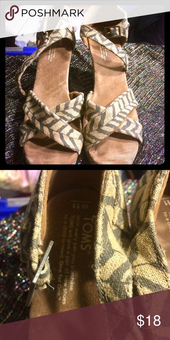 Toms Wedge sandals These are cute Toms wedges. Totally a classic. 11W used lightly. TOMS Shoes Wedges