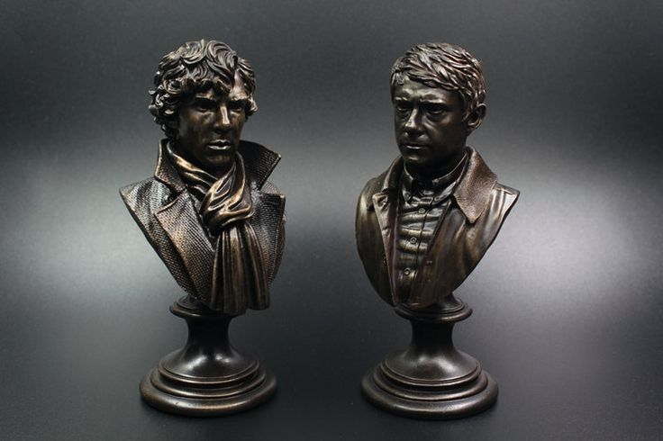 (28.90$)  Watch more here  - 2Pcs Watson Sherlock Holmes Action Toy Figure Bust Resin Statue Action Figures Doll Resin Benedict Cumberbatch  desk decoration