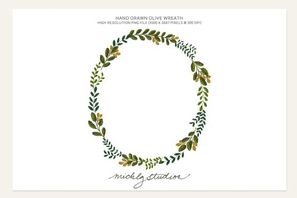 Check out PNG Hand Drawn Olive Wreath clip art by michLg studios on Creative Market