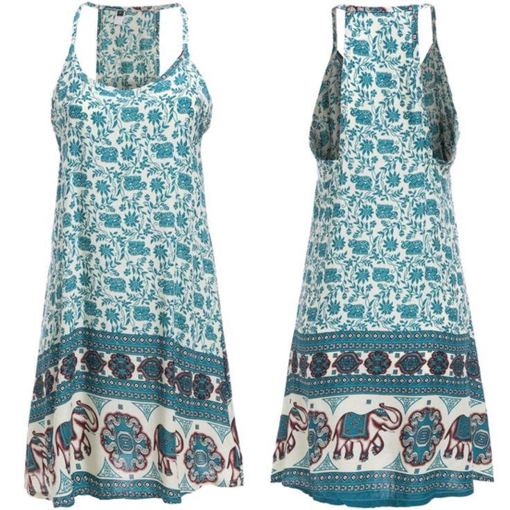 Style: Beach Wear - Dress - Cover upColour: Blue - MultiSKU:Material :RayonNeckline :Spaghetti StrapSilhouette :ShiftMeasurements: Bust(cm) :S:84cm,M:88cm,L:92cm,XL:96cmLength(cm) :S:82cm,M:83cm,L:84cm,XL:85cmSize Available :S,M,L,XL