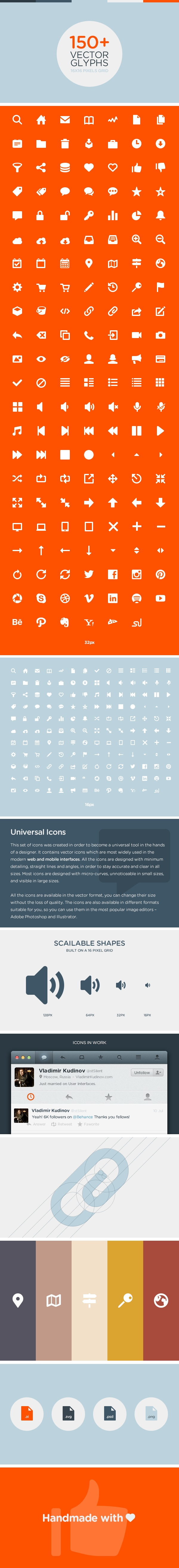 Unicons - Universal vector icons for mobile and web by Sergey Shmidt, via Behance $15