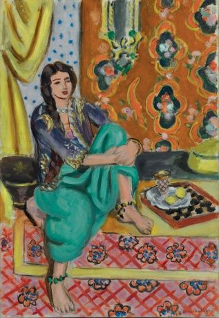 """Henri Matisse """"Seated Odalisque, Left Knee Bent, Ornamental Background and Checkerboard"""", 1928, Baltimore Museum of Art"""