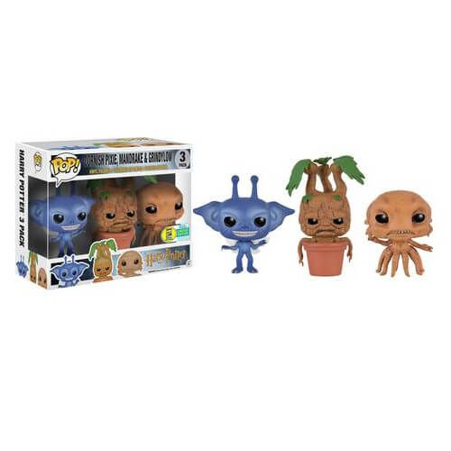 Harry Potter 3 Pack Cornish Pixie, Mandrake & Grindylow Pop! Vinyl Figures SDCC 2016 Exclusive