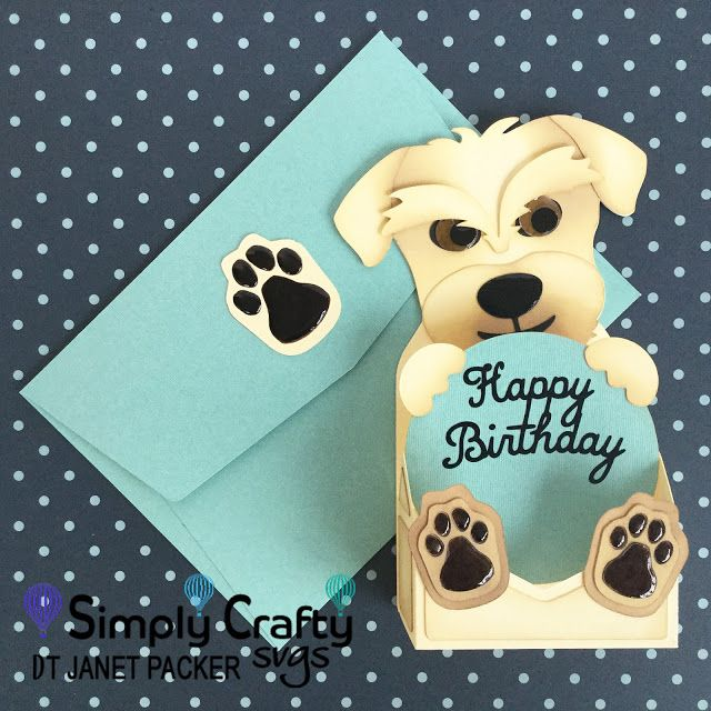 Crafting Quine Dog Hybrid Birthday Card Using The Free Envelope File Simplycraftys Free Birthday Card Free Printable Birthday Cards Free Happy Birthday Cards