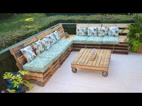 """Pallet Couch Pallet Sofa the Tarrou Way - YouTube I teach the first time pallet builder """"everything"""" you need to know to complete your own pallet sofa.  Also included are time stamps to skip ahead and pictures of the pallet tables we made to accompany the couch."""