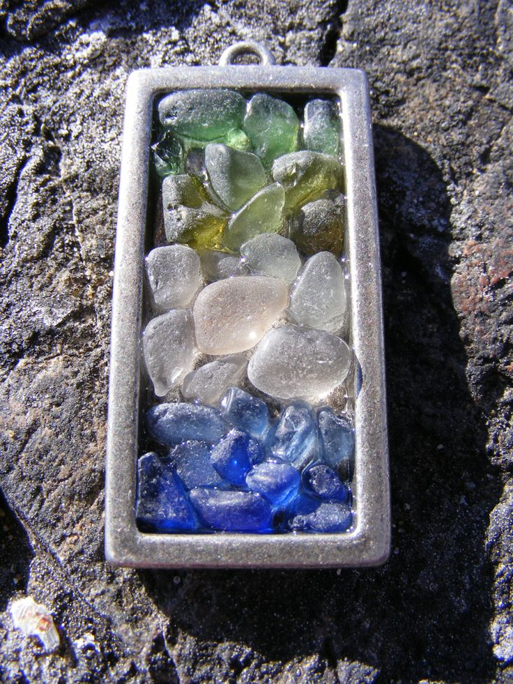 Sea Glass Necklace Mosaic with FREE tracked shipping to Canada/US (unique handmade jewellery made with beach glass from Victoria BC, Canada) by TheSeaGlassGrotto on Etsy