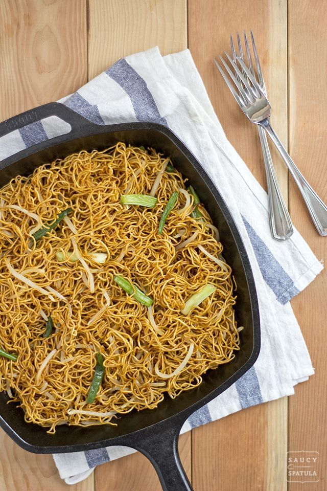 Get your noodle on! A Cantonese classic that takes only four ingredients to make - Pan-fried Noodles with Soy Sauce (豉油皇炒麵) by @Saucy Spatula
