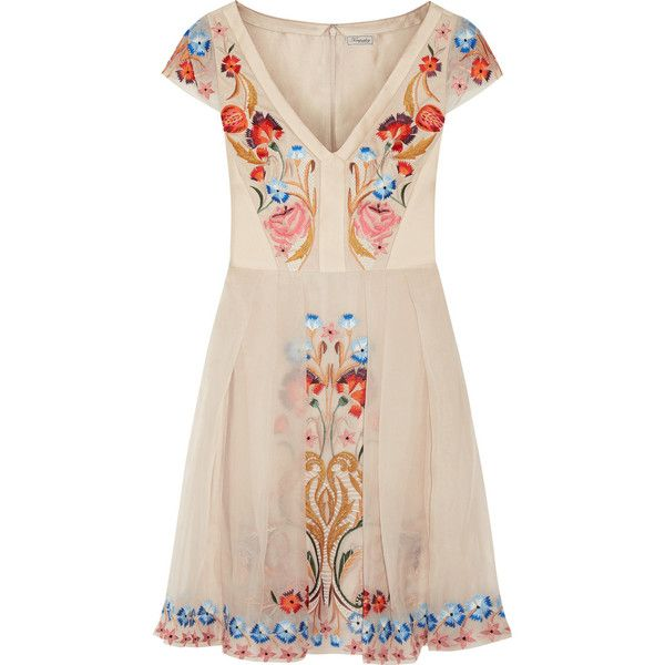 Temperley London Toledo embroidered silk-blend dress featuring polyvore fashion clothing dresses cream pleated dress colorful dresses multi colored dress panel dress embroidered dress