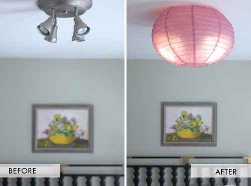 Home Designs, Before And After Covering Ceiling Lights By Thin Paper:  Empowering You by Adding Some diy Light Ceiling Cover