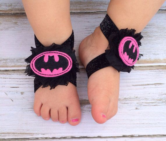 Batman GIRL Pink and BLACK Baby Barefoot Sandals - Newborn Sandals - Baby Clothing - Newborn Clothing - Baby Girls - Photography Prop on Etsy, $6.50