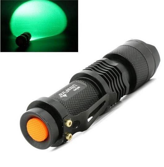 Free Epacket,Green LED Bulb Flash Light 7W 300LM CREE Q5 LED Camping Flashlight Torch Adjustable Focus Zoom waterproof flashlights Lamp