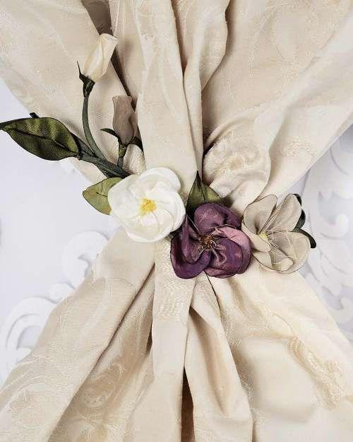 Perdele și draperii la comandă :: Flori decorative pentru perdele si draperii :: Spring :: Accesoriu de prindere ramura 3 flori, alb, mov, bej