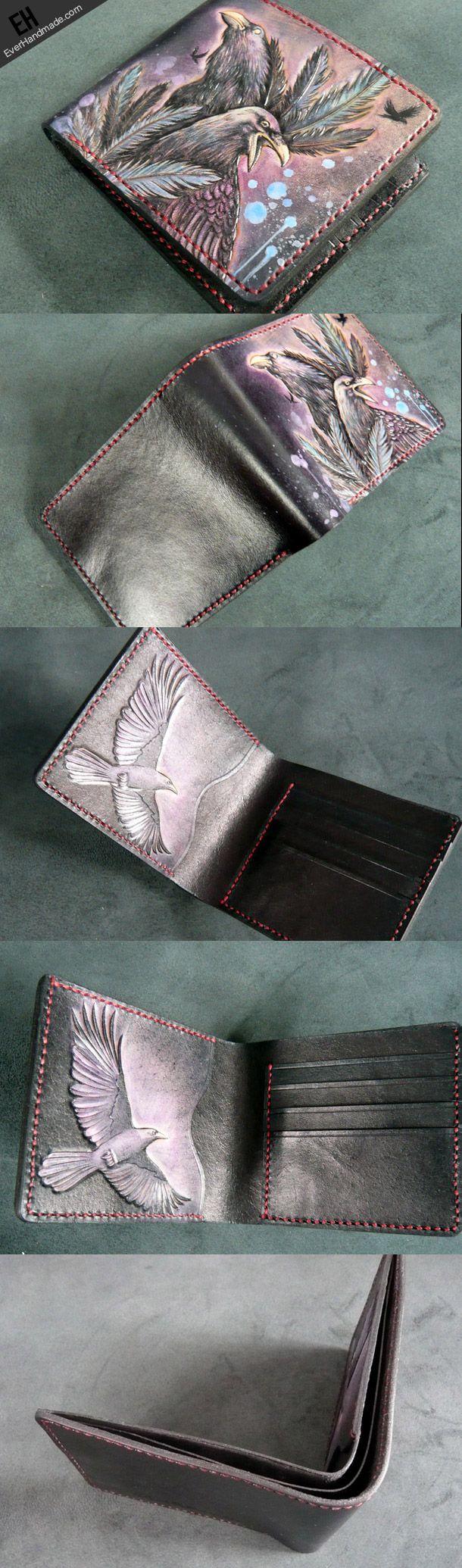 Handmade short leather wallet men Crow carved leather short wallet for men him