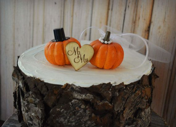 Pumpkin fall wedding cake topper fall themed by MorganTheCreator