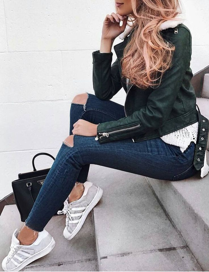 Green Leather Jacket // Destroyed Skinny Jeans // Grey Sneakers // White Knit