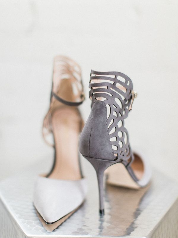 Gray Suede Laser Cut Shoes | Samantha James Photography on @heyweddinglady via @aislesociety