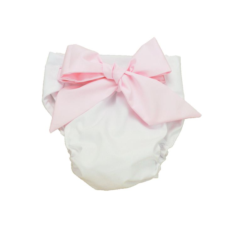 Baby Bow Bottom Bloomer - Worth Ave. White/Plantation Pink