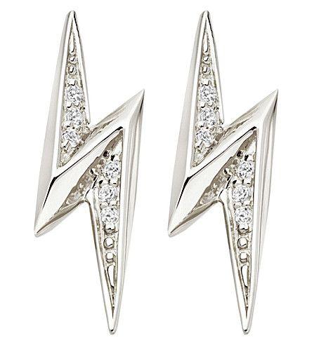 ASTLEY CLARKE - Lightning Bolt sterling silver and white sapphire stud earrings | Selfridges.com