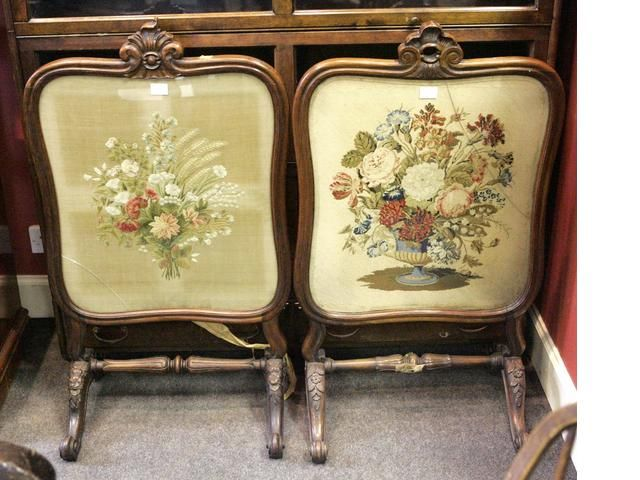 Victorian Fire Screens | pair of Victorian rosewood fire screens