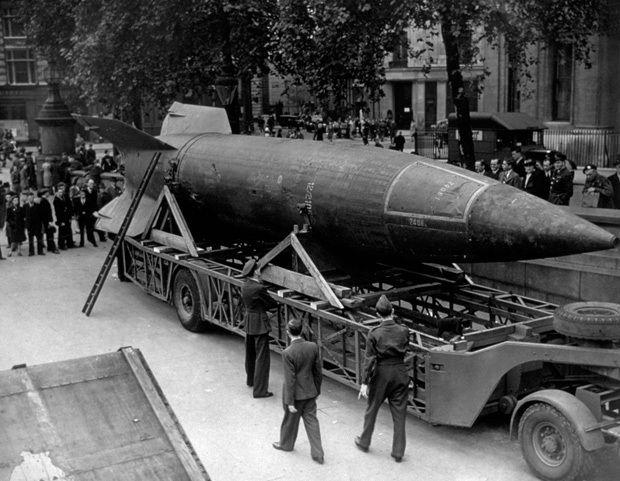 A V-2 rocket on display in Trafalgar Square, London circa 1945,