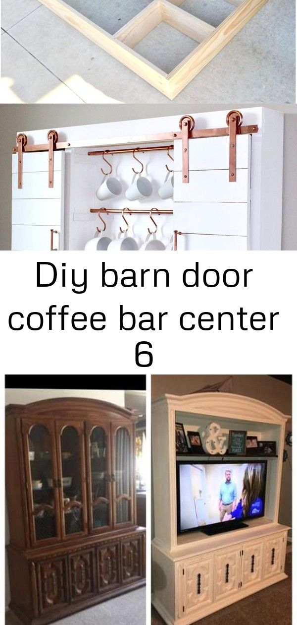 Diy Coffee Bar With Sliding Barn Doors And Copper Accents