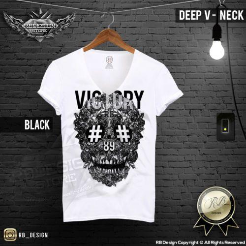 Men's Designer T-shirt Rose Skull Victory Blue Red Gold Print RB Design MD454