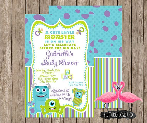 MATCHING PARTY PACKAGE HERE- https://www.etsy.com/listing/179631580/monsters-inc-baby-shower-party-package MATCHING GAMES: https://www.etsy.com/listing/188439867/monsters-inc-inspired-baby-shower ********************************************************** FLAMINGO DESIGN CO IS NOT