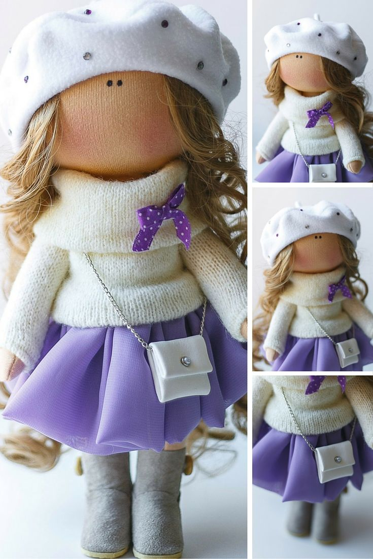 Lady doll tilda doll Art doll handmade blonde violet white colors Soft doll…