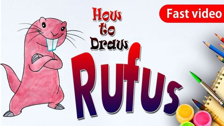 How to Draw Rufus from Kim Possible - Kids Art Lesson (fast Video)