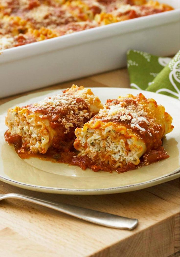 Cheese Lovers Pasta Roll Ups -- In this awesome riff on traditional lasagna recipes, ricotta, Parmesan and a blend of three cheeses are rolled up in the pasta and baked until delicious.
