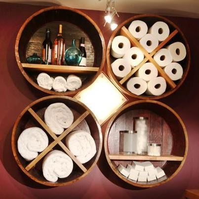 Old wine barrels re-purposed into storage