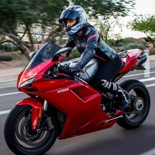 Biker girl on Ducati 1198 Panigale
