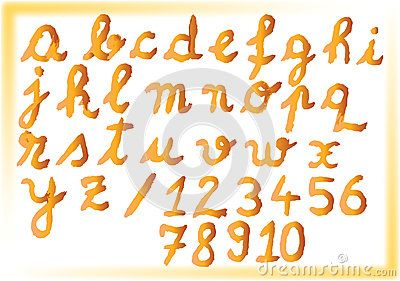 #Bold #watercolor #alphabet and #numbers with orange and brown shades