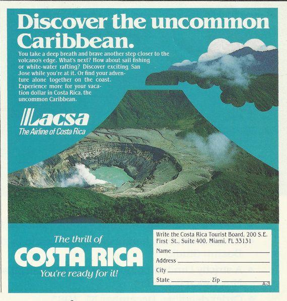 Costa Rica Original 1983 Vintage Print Ad Color by VintageAdOrama, $4.99