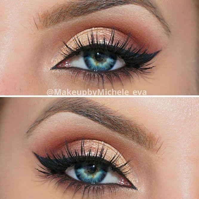 Das ideale Make-up für blaue Augen ist dasjenige, das die Farbtöne beinhaltet, die ei