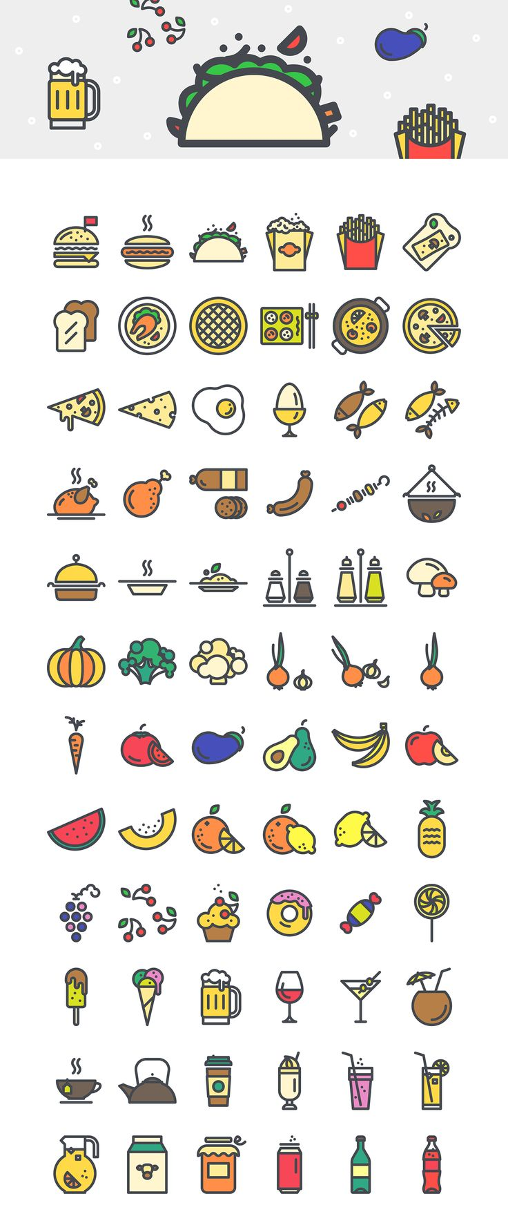 Creaticons: Food & Beverages - Vector Icons on Behance
