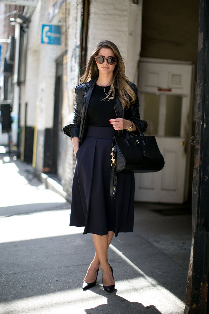 midi skirt: Midi Skirts, Full Skirts, Black Outfits, All Black, Style Inspiration, Fashion Week, Street Style, Ny Fashion, Leather Jackets