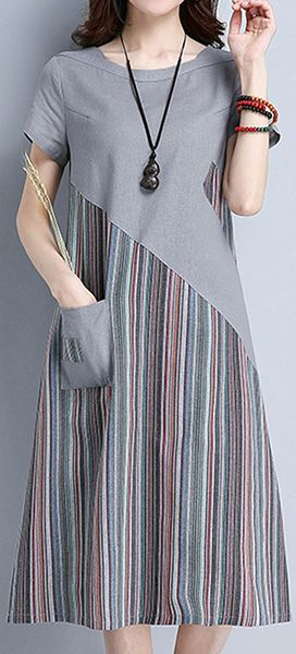 US$ 25.51 A Wonderful Dress With Two Colours That You Can't Miss - Striped Patchwork O Neck Short Sleeve Pocket Women Dresses