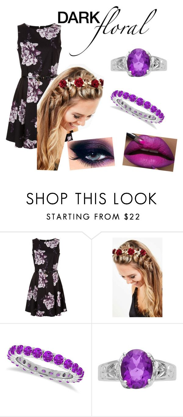 """Dark Floral : Puurple Dress"" by aphroditesamazing ❤ liked on Polyvore featuring Johnny Loves Rosie, MAC Cosmetics and Allurez"