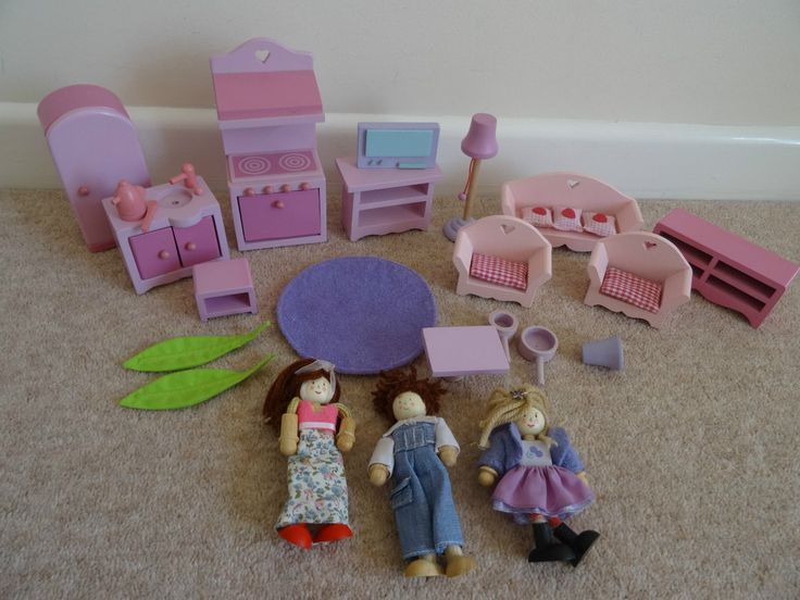 elc wooden dolls house furniture people / figures kitchen living room (rosebud) | eBay