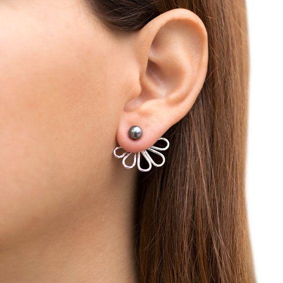Ear jacket earrings pair of front to back earrings by emmanuelaGR - ETSY