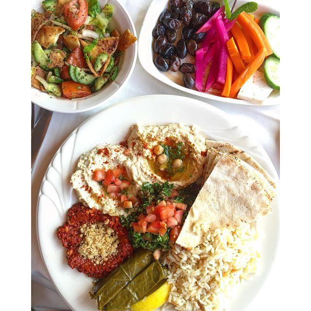I used to eat the veggie platter (baba ganoush, hummus, mouhammara, dolmas,