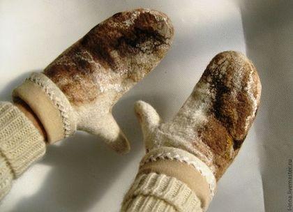 Варежки, митенки, перчатки ручной работы. Ярмарка Мастеров - ручная работа Карамельки варежки валяные на подкладке. Handmade.