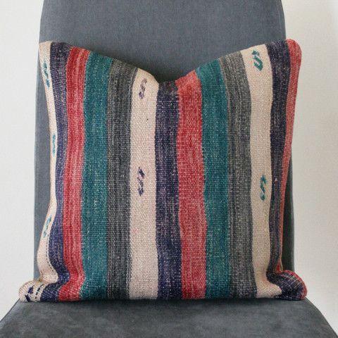 Bohemian Stripey Vintage Kilim Cushion